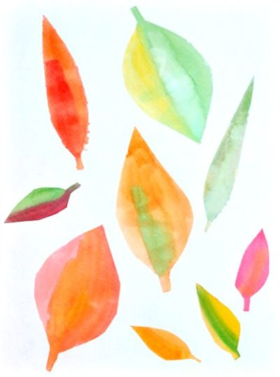 watercolor stencil #leaves • Artchoo.com