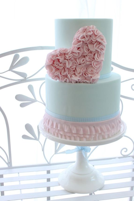 Ruffled Heart Wedding Cake