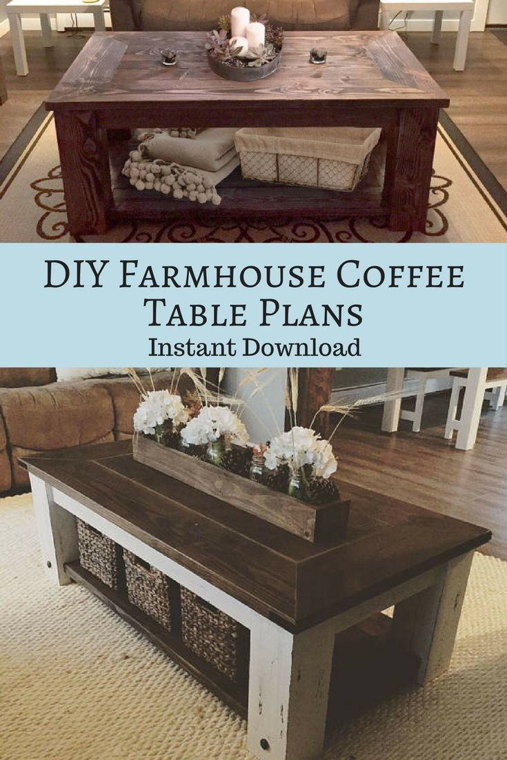 Instant download DIY farmhouse coffee table plans!! Makes for a ...