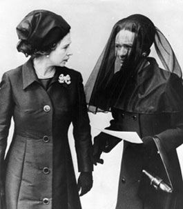 1972: Queen Elizabeth II & the Duchess of Windsor, the former Wallis Simpson, at the funeral of the Duke of Windsor, the former King Edward VIII, who abdicated in 1936 to marry Simpson. He died on May 28, 1972.