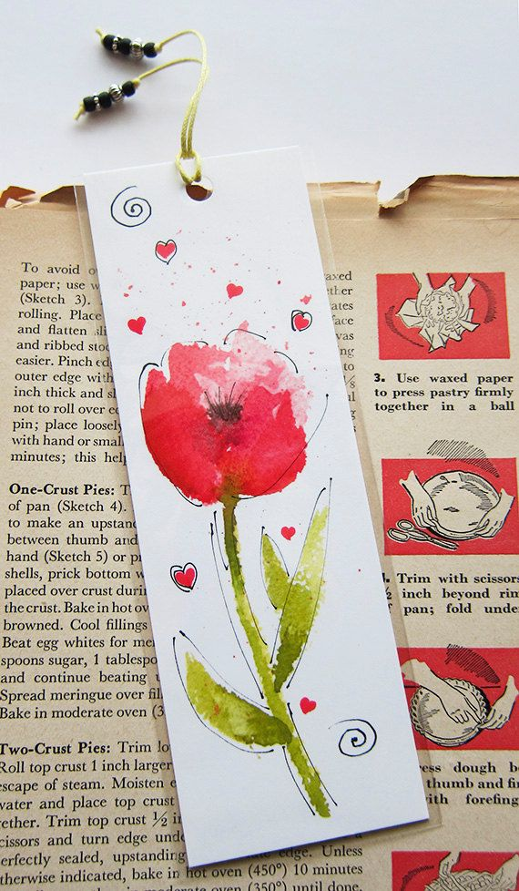 Flower Watercolor Pen And Ink Bookmark Watercolor by wrensroost