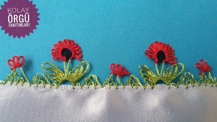 Gelincik çiçeği iğne oyası modeli - YouTube