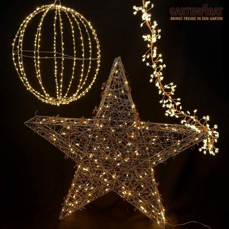 #weihnachten #deko #beleuchtung  mit #büschellichterkette Großem #stern aus Draht zum Aufstellen #leuchtball zum Aufhängen