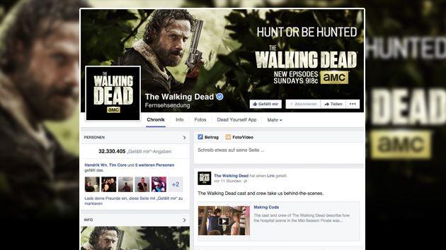 """Die MEEDIA Facebook Top 100: Einer der ganz großen Gewinner war im vergangenen Monat die Zombie-Serie """"The Walking Dead""""."""
