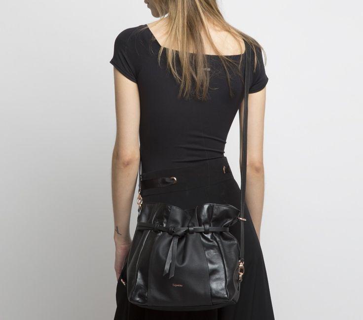 "Bucket Bag ""Morphee"". Black Buffalo calfskin, shiny leather and silk calfskin. #Repetto #RepettoBags #Black"