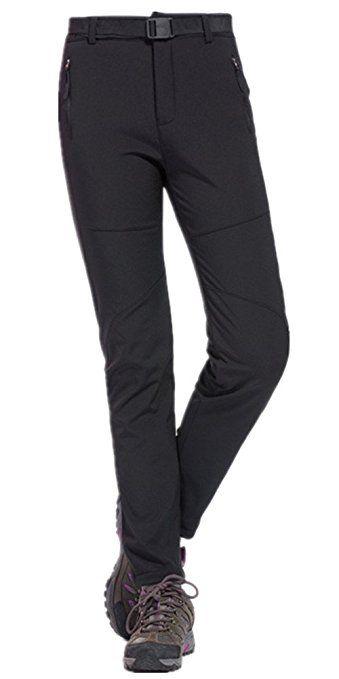 LANBAOSI Women's Outdoor Waterproof Softshell Pants Fleece Hiking Ski Trousers Black