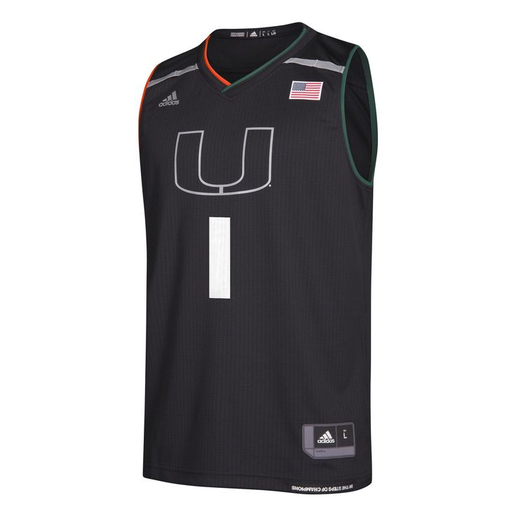 Miami Hurricanes adidas 2017 Basketball Jersey - Black