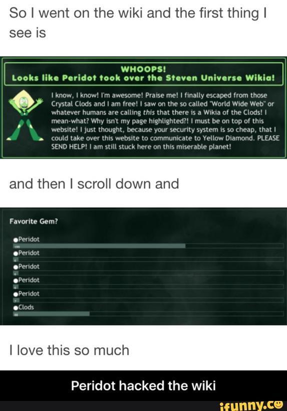 Peridot hacked the wiki