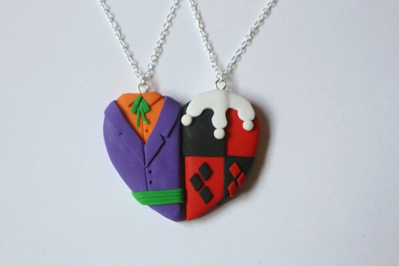 The Joker and Harley Quinn Inspired Friendship Necklaces - CharmingClayCreation