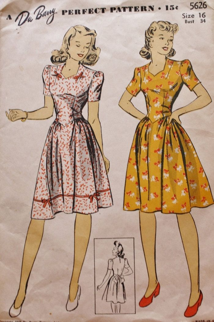 1940s Sweetheart Neckline Fitted Bodice Dress DuBarry 5626 Bust 34 Vintage Dress Pattern by BluetreeSewingStudio on Etsy