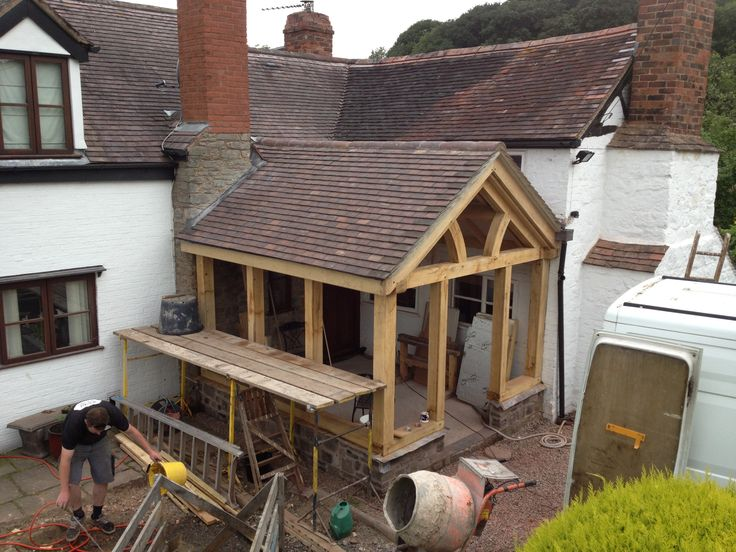 Timber Frame extention, glass & oak www.heritageoakframes.co.uk