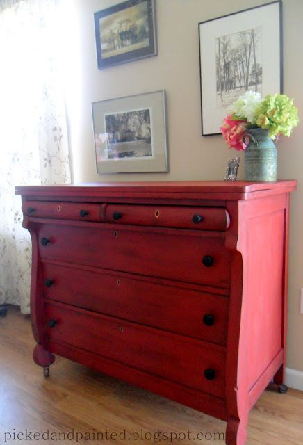 Picked & Painted: Red Empire Dresser. Steps included: adding baking soda to paint (makes chalk paint), some dark glaze, sanded, distressed, black stain (to create a deeper colour), finished with two coats of rub-on poly.