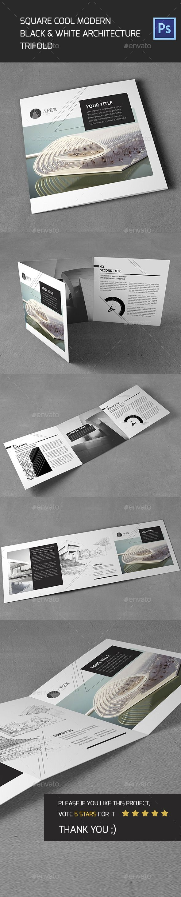 Square Cool Modern Architecture Trifold Template #design Download: http://graphicriver.net/item/square-cool-modern-architecture-trifold/11788009?ref=ksioks