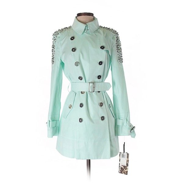 Sam Edelman Trenchcoat (£36) ❤ liked on Polyvore featuring outerwear, coats, light blue, cotton trench coat, sam edelman coats, light blue coats, light blue trench coat and trench coat