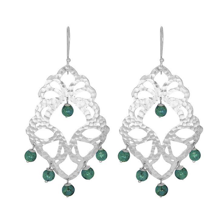 Nicole Fendel Elektra Statement Earring - Silver/Green Turquoise