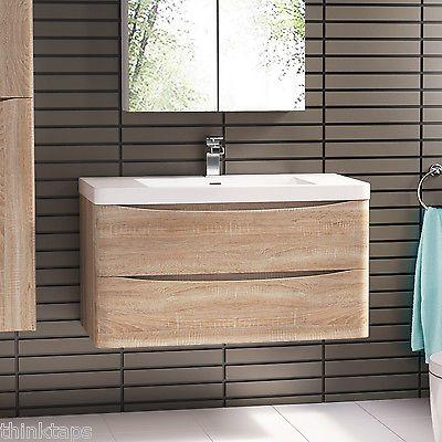 800mm Wall Hung Oak Bathroom Vanity Unit & Basin