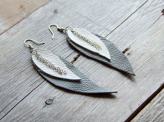 Grey and white Feather Leather Earrings by katrinshine on Etsy #etsy #earrings #handmade #katrinshine #feather #leather #minimalism #jewelry #jewellery #feather earrings #boho #bohemian #bohochic #hippie #ethnic