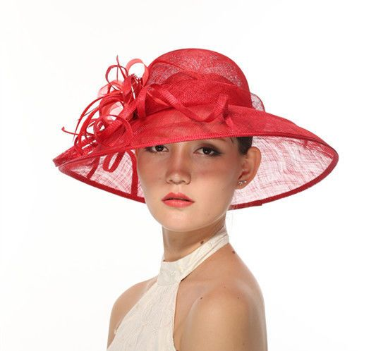 Church Kentucky Derby Carriage Wedding Tea Party Wide brim Sinamay Hat Red #MissRace #churchdressderbyeaterweddingteacarriage