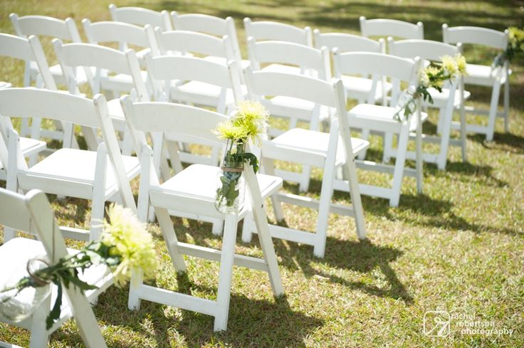 Outdoor Wedding Ceremony Décor: Chair That We Can Afford.White Resin Ceremony Chairs