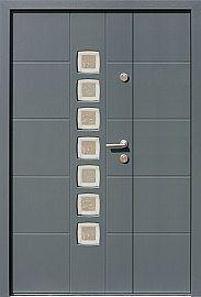 Drzwi zewnętrzne dwuskrzydłowe nowoczesne wzór 946,11+ds1 w kolorze ral 7035