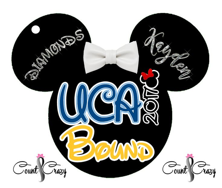 UCA Bound Laminated Bag Tag with Bow. These make great little team celebration gifts for cheer teams heading to UCA. Male athlete version is just a Mickey head over the year and no bow.