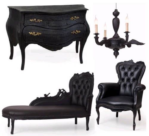 I love the flat black leather but Id probably change the color of the dresser. Victorian goth dream!