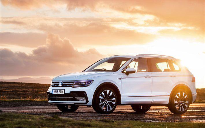 Volkswagen Tiguan, 2017, crossover, white Tiguan, new Volkswagen, sunset
