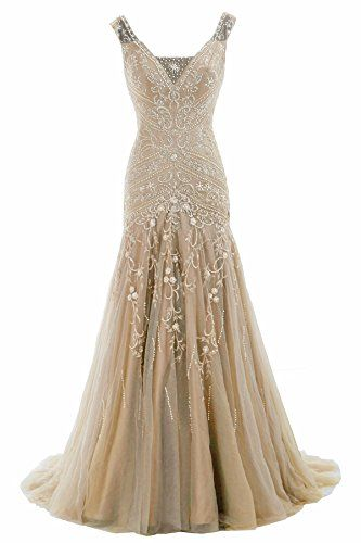 Cocomelody A Line V Neck Long Beaded Evening Dress Bmmc0009 Champagne 4 COCOMELODY http://www.amazon.com/dp/B00VFY487Q/ref=cm_sw_r_pi_dp_Gvrovb0NC8A2J