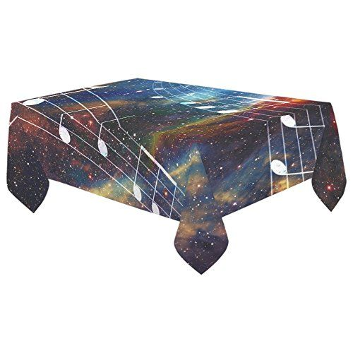 InterestPrint Tablecloth Music Note in Space Home Decor 60 X 104 Inch, Galaxy Nebula Clouds Modern Fabric Desk Cover Table Cloth for Dining Room Kitchen Party Decoration