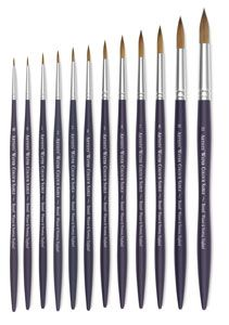 www.liannewestcot.com My top recommendation for brushes is a good natural brush such as Winsor and Newton artist's sable watercolor brushes. They are so versatile, I highly recommend starting with just one round brush. Invest in a larger size (8 to 12) and skip the cheaper sets!! For acrylic a variety of brushes is helpful. For watercolor, a good brush that is well taken care of can make a very thin to thick stroke.