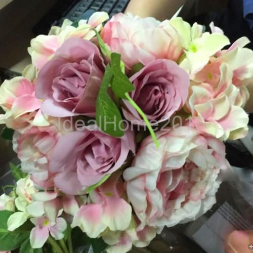 Artificial-Silk-Rose-Hydrangeas-Bridal-Flower-Bouquet-Wedding-Light-Purple