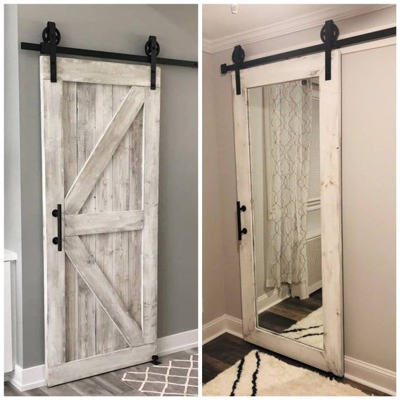 Hybrid Door Framed British Brace Mirrored Door Distressed White 36x96 In 2020 Doors Rustic Mirrors Mirror Door