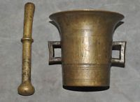 HUGE 19th C GERMAN APOTHECARY MORTAR AND PESTLE 2.8 KG BRASS MEDICAL ANTIQUE