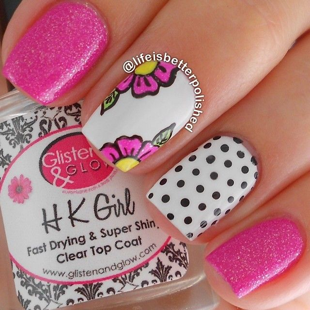 Pink, flowers, polka dots nails. Nail art. Nail design. Polish. Polishes. by @lifeisbetterpolished