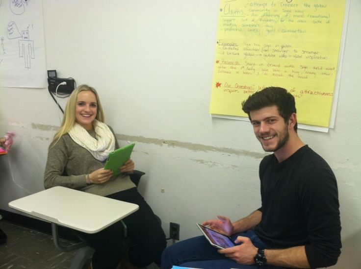 My students inspire me to be better.  This picture is of two of my students that worked on a really cool Rough Cut Project for English 130.