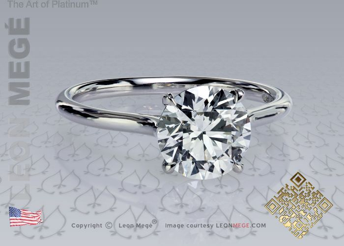 TulipTM Round Diamond Solitaire Engagement Ring By Leon Mege Ideal Platinum Metal Is Not Necessary
