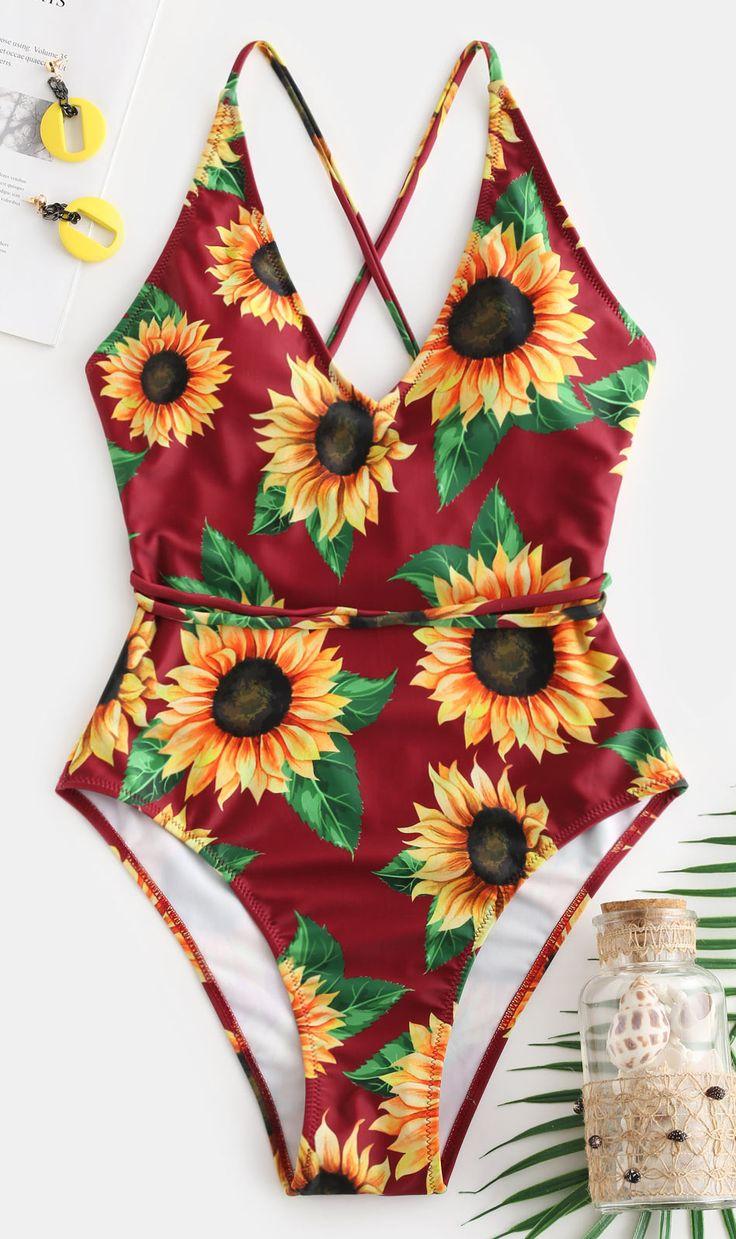 Love Sunflower Print Crisscross One-Piece Swimsuit - Red Wine 2