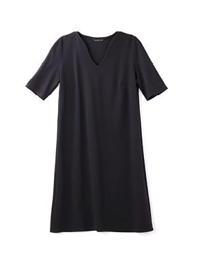 black ponti a line dress
