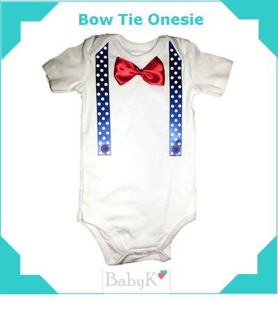 Bow Tie and Suspender Onesie for cute little boys.  By BabyK.