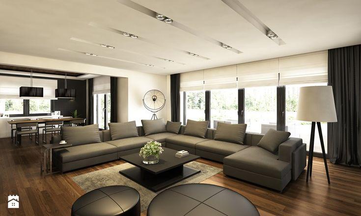 Willa w Łomiankach - Duży salon z jadalnią, styl nowoczesny - zdjęcie od Casa Marvell Interior Design & Interior Boutique