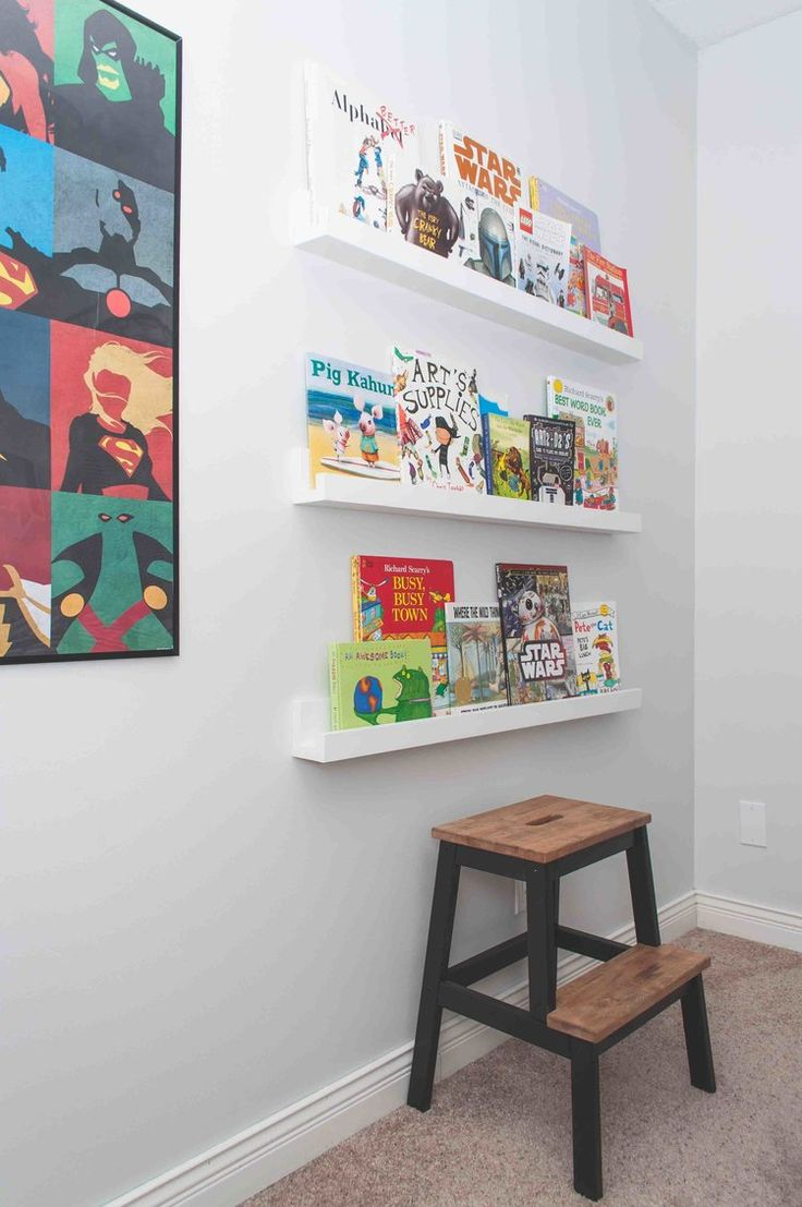 Superhero kids bedroom, bookshelves