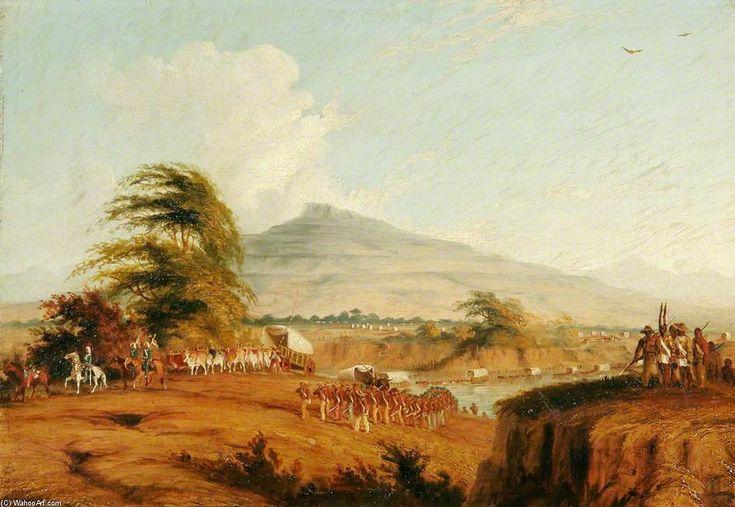 Forces sous le commandement du lieutenant-général Cathcart traversant le fleuve Orange, en Afrique du Sud pour attaquer Moshesh de Thomas Baines (1820-1875, United Kingdom)