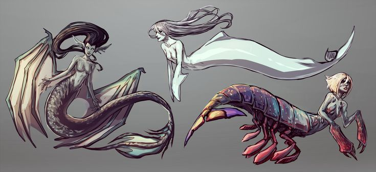 """More Merfolks by moni158.deviantart.com on @deviantART - """" The left hand side one is suppose to be a seadragon mermaid, Top one is based on a beluga, and the other is a mantis shrimp"""""""