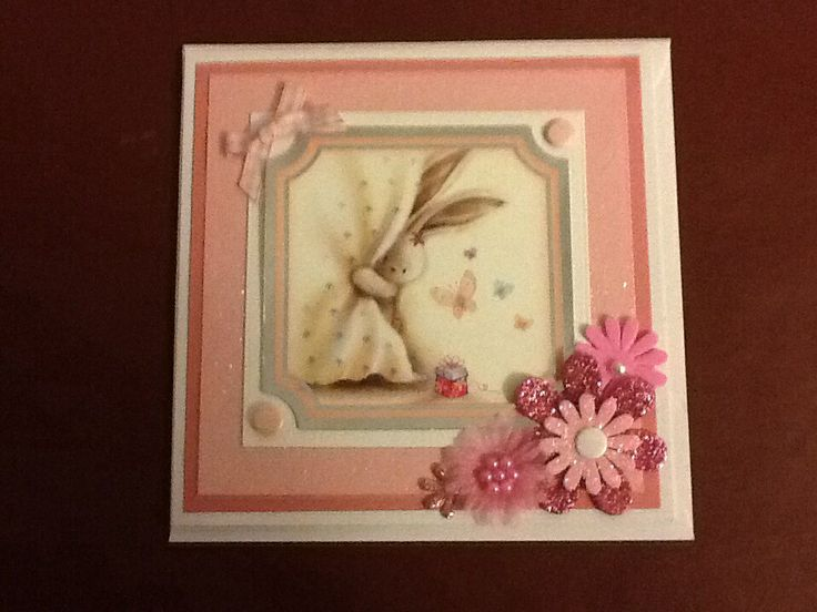 Baby pink Crafters companion pink bebunny card with flower embellishment