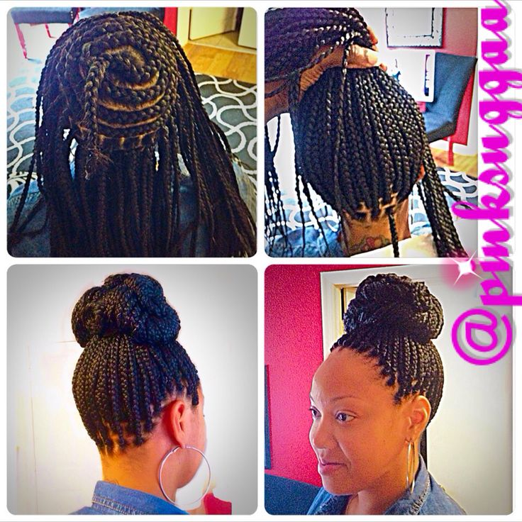 Crochet Micro Box Braids : Braids / Perimeter Braided Bun / Box Braids Braided Beauty ...