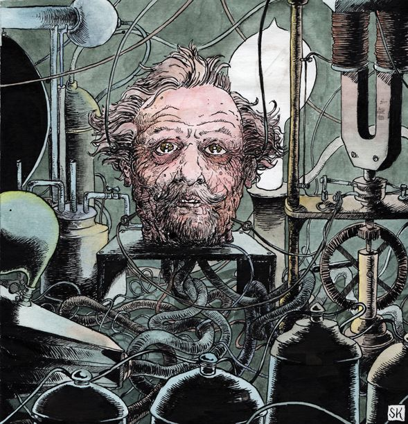 Professor Dowell's Head, by Aleksandr R. Beliáiev. Illustration by #bastiankupfer #aleksandrbeliaiev #professordowell #head #decapitation #sci-fi #literature #artificial #life #art #fabulantes
