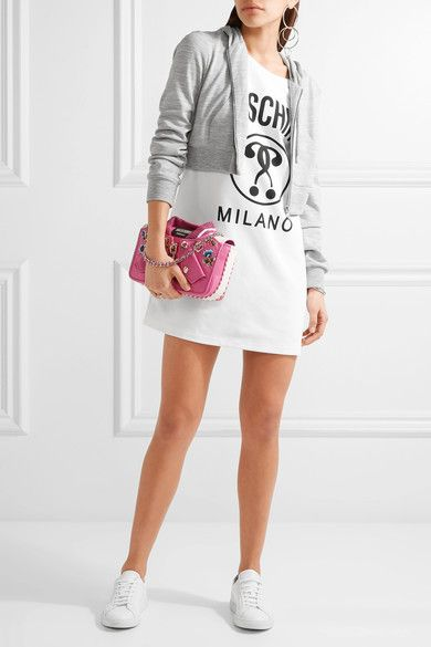 Moschino - Hooded Printed Stretch-cotton And Jersey Mini Dress - White - IT