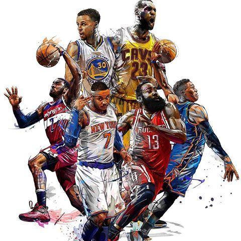 NBA Superstars Nba basketball art, Basketball legends