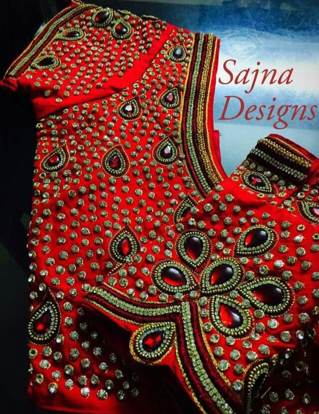 Red stone work blouse