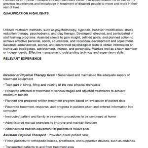 physical therapist resume sample here is the free physical therapist resume sample you can preview